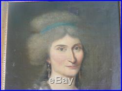 Huile sur toile fin XVIIIème 18ème siècle portrait de jeune femme