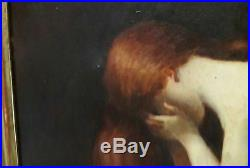 Huile sur toile jeune femme symbolisme Bruel Henner