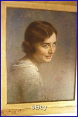 Huile sur toile portrait d'une jeune femme 1900/1930