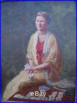Huile sur toile portrait femme signé Willy Zeguers tireuse carte peinture paint