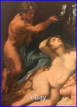 Huile sur toile scène mythologique 18ème