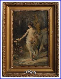 Huile sur toile signature illisible époque XIXème femme nue