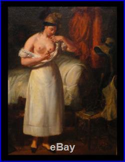Huile sur toile signée César DUCORNET (peintre né sans bras) La Grisette