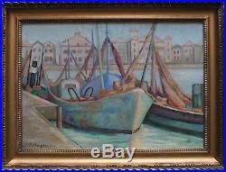 Huile sur toile signée, Port de Saint-Jean-de Luz, Pays Basque