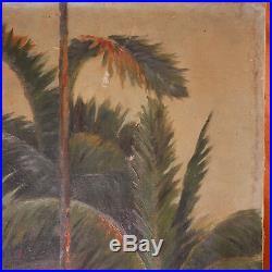 INDOCHINE Suzanne Depincé Paysage paillotte Tableau Peinture Painting Viet-Nam