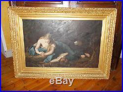Immense tableau ancien 19ème représentant Marie-Madeleine