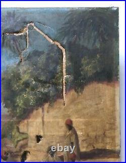 Important tableau orientaliste ancien, Signé, Daté, HST, A restaurer, Début XXe
