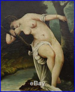 J. BARDIN Huile sur Toile Baigneuse ou Nymphe Pensive du XVIIIème Siècle