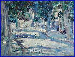 Jean Aubery (1880-). Village en Provence. Huile sur toile. V989