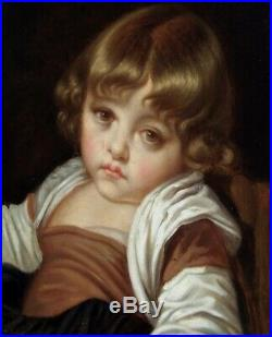 Jean-baptiste Greuze 1725-1805 Atelier Suiveur- Magnifique Portrait D'enfant