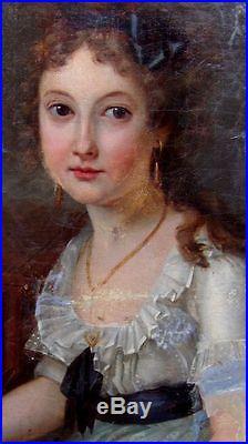 Jeune Femme Au Clavecin. Grande Toile 1er Empire. A Restaurer. Signée