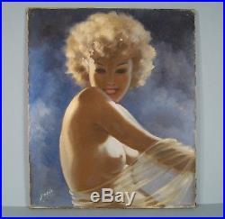 Jeune Femme Nue Huile Sur Toile Signée G. Arbois / Peinture Style Domergue