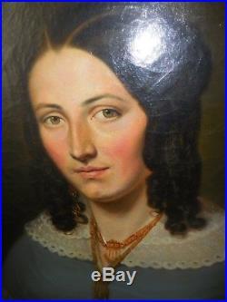 Jeune femme circa 1840 ds gout dubuffe 81 65 cm bon etat