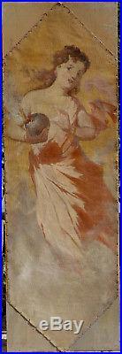 Jules Chéret, 1895, Bénézit, Rarissime Paire de Grandes Toiles Décoratives