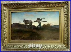 Jules Ed. Magy 1827-1878. Grand & Magnifique Orientaliste. Paysage Au Laboureur