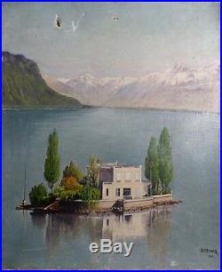 L'Ile de Salagnon Lac Léman Alpes Suisses Vers Montreux Signé Vintriger 1912