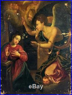 L'annonciation. Peinture. Huile Sur Toile. Anonyme. Italie. XVIII Siècle