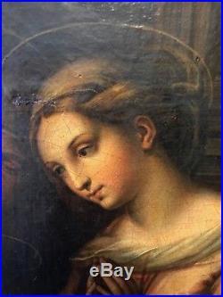La Madone du divin amour Ecole Italienne du XIXe d'après Raphael Sanzio Urbino