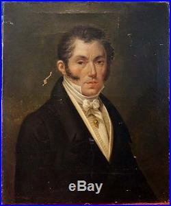 Le Dandy, 1820, Magnifique Portrait D'Epoque Restauration! Ecole Française
