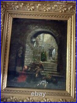 Le moine ivre Ecole XIXe Huile sur toile