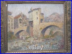 Le vieux pont de Sospel. Important tableau de Joseph Lépine (1867-1943)
