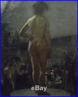 Léon Galand nu dans latelier huile sur toile montpellier