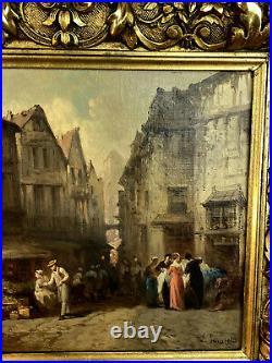 Leonard Saurfelt 1840 / Huile Sur Toile Signée / Place Du Marché / Bien Encadrée