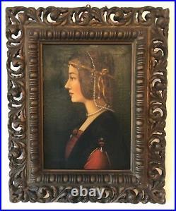 Leonardo da Vinci Béatrice d'Este peinture sur toile Copie XXe Sforza Milano