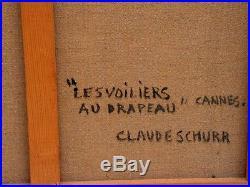 Les voiliers au drapeau belle huile sur toile de Claude Schurr