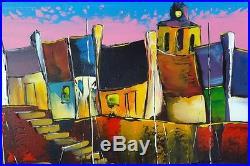 Locmariquer Original JP DOUCHEZ art Peinture huile sur toile au couteau Bretagne