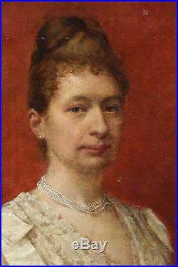 Louis Maeterlinck 1889, Bénézit, Coté 1200! Portrait d'Elégante Art-Nouveau