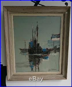 Lucien JOVENEAUX Tableau HUILE sur TOILE XXe Oil Art peinture Signe BATEAUX Boat