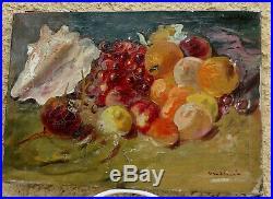 Luigi Corbellini 1901-1968. Grande & Puissante Nature-morte. Fruits & Coquillage