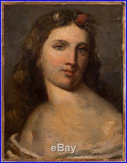 Magnifique Tableau Possiblement De Gustave Courbet Signe Huile Portrait