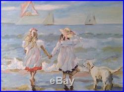 MAKAROV Alexei Impressionnisme Russe Marine Fillettes au Cerf-volant Huile Toile