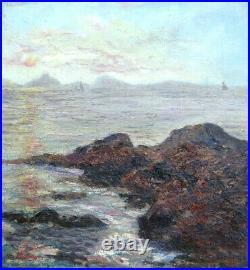 MARSEILLE COUCHER DE SOLEIL Provence Toile IMPRESSIONNISTE 8F signée 1926 Cadre