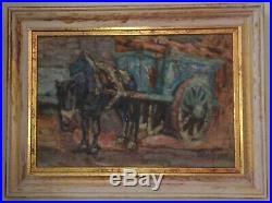 Marcel. BACH Le repos du limonier Huile signée 1906. Petit maître bordelais