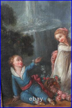 Marie Antoinette, entourage dAntoine WATTEAU, Scène romantique XVIII ème