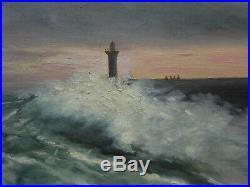 Marine, peinture tableau huile sur toile, phare, voiliers, vagues, signé