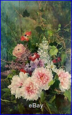 Nature Morte De Fleurs. Huile Sur Toile. Signé (ricardo) Manzanet. Espagne. 1887
