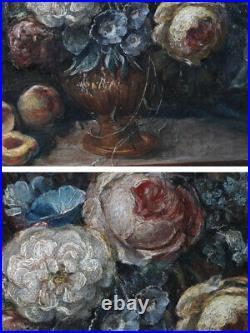 Nature morte aux fleurs et fruits, Huile sur toile, Ecole Française du XIX ème