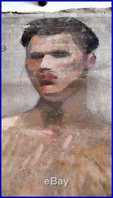 Nu Masculin & Nu Féminin Vers 1930 Huile sur Toile Recto Verso Homme Nu Gay