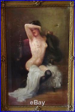 Nu Portrait de Femme Huile sur toile Ecole française XIX-XXème siècle