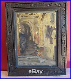 ORIENTALISTE HST CADRE EN BOIS SCULPTE 37 x 46 cm LA MEDINA SIGNE GABIS 1934