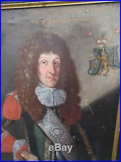 PEINTURE À L'HUILE ÉPOQUE XVIIIè PORTRAIT DE NOBLE BLASON SAINT EMPIRE