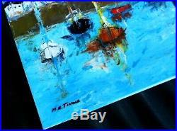 PEINTURE TABLEAU marine port au nord huile sur toile signé TINOCO coté AKOUN