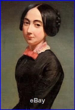 Pierre Bonirotte(1811-189)portrait D'une Jeune Femme A La Chaise Hst Beau Cadre