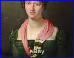 PORTRAIT DE FEMME ROMANTIQUE DEBUT XIXeme TABLEAU HUILE SUR TOILE CADRE