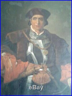 PORTRAIT DE GENTILHOMME ITALIEN XVIIème EN ARMURE Huile sur toile XIXème
