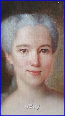 PORTRAIT FEMME DE QUALITE NOBLE EPOQUE DEBUT XVIII ème Huile sur toile